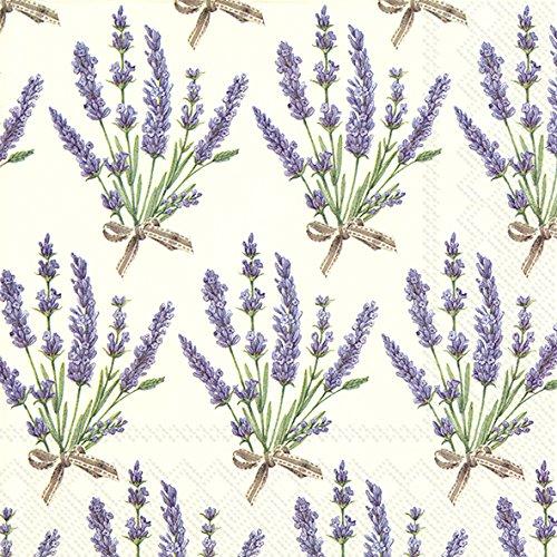 cremefarben Papierservietten Serviette 20Stück 3-lagig, 33 x 33 cm (Lavendel Servietten)
