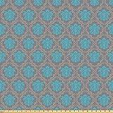 ABAKUHAUS Damasco Tessuto a Metraggio, Veneziana Artful İtaliano, Tessuto in Microfibra per Arte e Artigianato Tessili & Decor, 5M (160x500cm), Cacao Sky Blu Giallo
