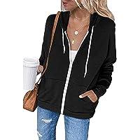 iChunhua Women's Zip up Hoodies Casual Plain Sweatshirt with Pockets
