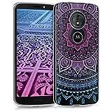 kwmobile Motorola Moto G6 Play Hülle - Handyhülle für Motorola Moto G6 Play - Handy Case in Blau Pink Transparent