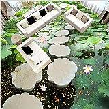 Zybnb Lotus Stagno Fiore Pietra Ponte 3D Pavimentazione Carta Da Parati Bagno Ufficio Corridoio Corridoio Ingresso Pavimento Carta Da Parati Murale