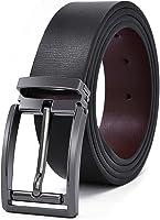 NEWHEY Ceinture Homme Cuir Jeans Veritable Réglable Noir Marron 35mm de Larges
