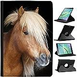 Pony y poni de las Shetland (piel sintética, función atril), diseño con capacidad de soporte para tablets negro Brown Pony With Blonde Mane Samsung Galaxy Tab A 9.7 (2015) - T550