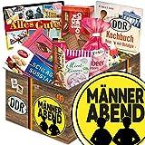 Männerabend | DDR Korb | DDR Suessigkeiten-Box mit Puffreis-Schokolade, Liebesperlenfläschchen, Othello Keks Wikana uvm.
