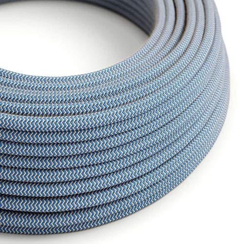 Creative-Cables Textilkabel rund, Zick-Zack Muster, blau natürliche Baumwoll Leine, RD75-5 Meter, 2x0.75 -