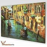 phoenixarts Italien Metallbild 3D Venedig Gondoliere Metall Bild Unikat Wandrelief 120x80cm - über 40 Motive - 403