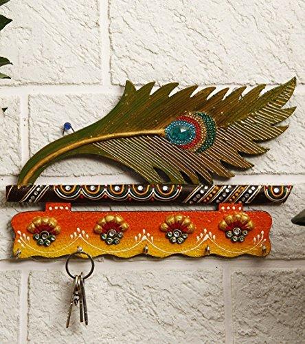 JaipurCrafts WebelKart Beautiful Mor Pankhi Wooden Key Holder (9IN x 14 in)