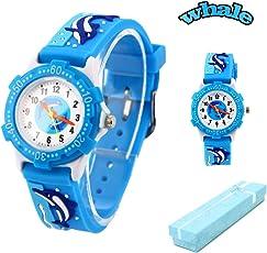 Kinder Armbanduhr Vinmori, Wasserdichte Quarzuhr mit süßer 3D-Karikatur, Geschenk für Kinder,Jungen und Mädchen