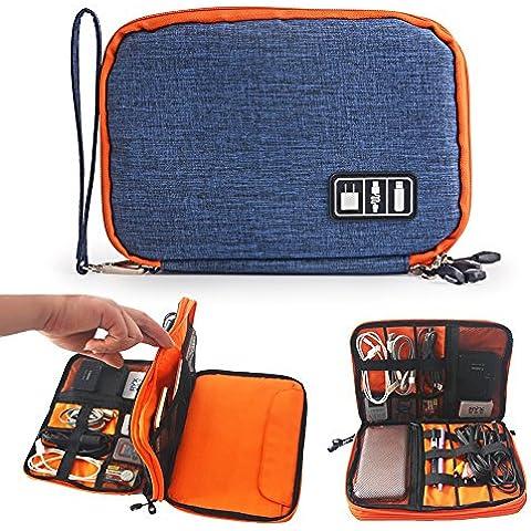 Zuoao Universal Organizador Electrónica Accesorios Doble Capas Bolso Accesorios Organizador Portable Apto para iPad Mini Bolsa de