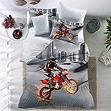 THEE 3D Motorrad Bettwäsche Set Duvet Cover Bettbezug mit Kissenbezug (Einzelbett)