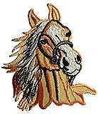 Aufnäher / Bügelbild - Pferd Hengst Tier - orange - 7,3 x 9 cm - Patch Aufbügler Applikationen...