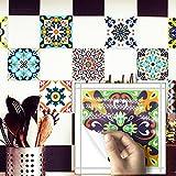 Apsoonsell marocain carrelage étanche Autocollant Papier peint de meubles de salle de bain DIY arabe Autocollant pour carrelage (8* 8inches-10pcs, 1a, 8 * 8inches|20cm*20cm