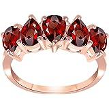 Orchid Jewelry 2.50 Ctw Rosso Granato Pera | Anello In Argento Sterling 925 | Nichel Gratuito Simpatico Regalo Per Sorella