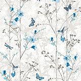 102552 - Novedades Eden Blue Metallic Mariposas Wallpaper