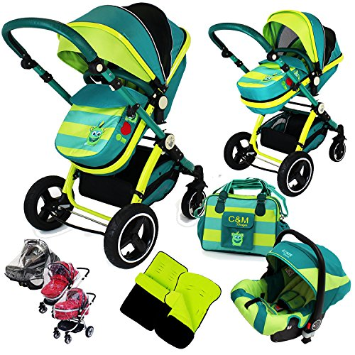 i-Safe System – Lil Friend Trio Travel System Pram & Luxury Stroller 3 in 1 Complete With Car Seat + Changing Bag + Footmuff + Carseat Footmuff + RainCovers 61nA5H6JCPL