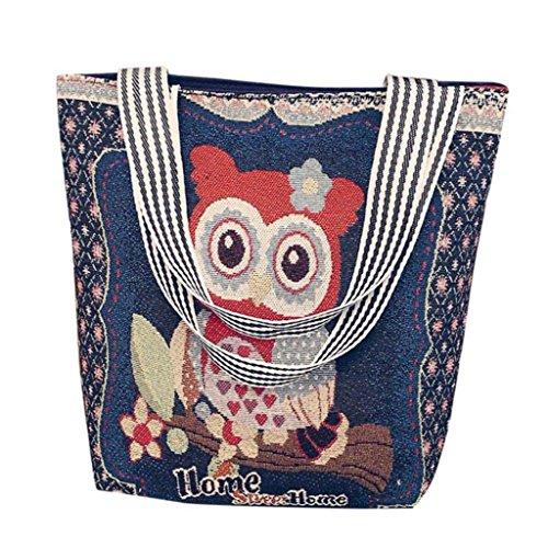 VJGOAL Damen Schultertasche, Damen Mädchen Cartoon Eule Canvas Handtasche Schultertasche Umhängetasche Schultertaschen Geschenk der Frau (33 * 10 * 32cm, B)