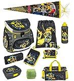 Familando Transformers Bumblebee Schulranzen-Set 10 tlg. mit Dose, Flasche, Sporttasche, große...
