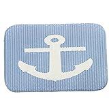 iLove EU Fußmatte, Sauberlaufmatte, Türmatte, Fußabtreter, Fußabstreifer Korallen Samt 40cm x 60cm - Streifen Gestreift Anker (Blau Weiß)