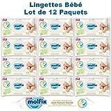 Molfix - Coton - Lingettes Bébé - Paquets de 50 (x600 Lingettes)