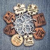 Étiquette de Chien en Bois | Étiquette de Chat | ID d'animal de Compagnie Personnalisé | Gravé avec nom et numéro de téléphone | 6 Types de Bois massif | 8 Formes | 3 Tailles | Épaisseurs - 3mm/5mm ❤