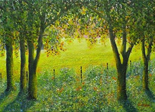 warm-sunny-morning-pintura-de-paisaje-original-acrilico-35cm-x-25cm-campo-amarillo-luz-solar-sombras