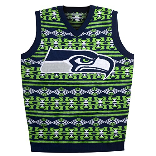 Forever Collectibles Seattle Seahawks Aztec Print Ugly Pullover Weste Extra Groß