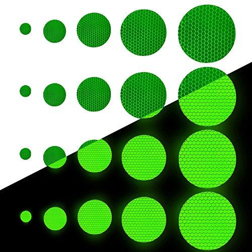 Tuqiang Runde Form Reflektierendes Klebeband Wasserdicht Selbstklebend Für Kleidung Rucksack und Gehweg Hohe Sichtbarkeit Band Sicherheit im Freien Reflektierend Aufkleber 25 Stück Grün (Harte Kleidung)