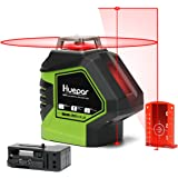 Huepar 621CR 1 x 360 Niveau Laser Croix Rouge avec 2 Points Laser, Lignes Laser Auto-nivellement avec Point d'Aplomb et Mode Pulsé Extérieur, Distance de Travail 20m, Support Magnétique Incluse