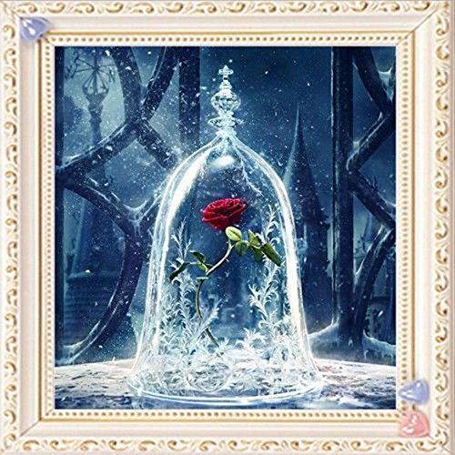Gemini_mall® 5D Diamond Painting Full Kits DIY Handmade Rhinestone Embroidery Cross-Stitching Set Mosaic Home Room Decoration Red Rose