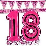 Ballon Zahl 18 in Pink + passende 18er Raumdeko Banner und Wimpelkette + Metallic Konfetti - XXL Riesenzahl 100cm - zum 18. Geburtstag - Party Geschenk Dekoration Folienballon Luftballon Happy Birthday Achtzehn Rosa