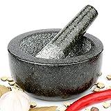 H&S Mortier et pilon Premium en granit massif 16 cm de diamètre
