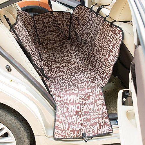 FREESOO Hundedecke Auto Autoschondecke Hunde Haustier Hundekatze wasserdicht Selbsthängematten Sitzabdeckungsmatten Auflage Spielraum mit Sicherheitsgurt Rücksitz in Kaffee Alphabet 51.2 x 59 x 21.7
