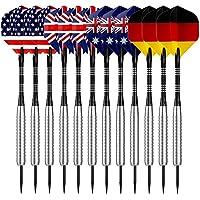 Sametop Dartpfeile 22 Gramm Steel Dart 12 Stücke Metallspitze Darts Set mit Veschiedenen Flights, Aluminum Schafts, Neusilber Barrels, Dart Point Spitzer