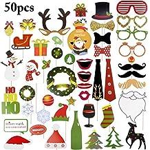 Navidad Photo Props, Funpa 50pcs Apoyos de la foto de Navidad Patrones surtidos Divertidos DIY