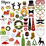 Funpa Prop Photo Booth, 50Pcs Kit Photo Booth Christmas Accessori fai da te colorati occhiali baffi labbra farfallino cappelli su bastoni