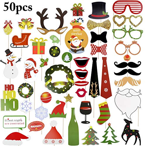 Funpa prop photo booth, 50pcs kit photo booth christmas accessori fai da te colorati occhiali baffi labbra farfallino cappelli su bastoni (60pcs) (50pcs)