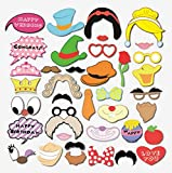 Smile YKK 38 Stk. Fotorequisiten Fotoaccessoires Photobooth Accessoires Für witzige lustige Bilder,Hochzeit, Geburtstag, Abschlussfeier oder Jede Andere Party Form N