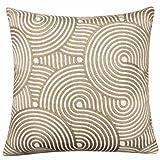 Ideal Textiles Lucy Kissenbezug, Moderne Bestickte Kissenbezüge, Strick-Stil, 45 x 45 cm, Taupe, Beige, Weiß