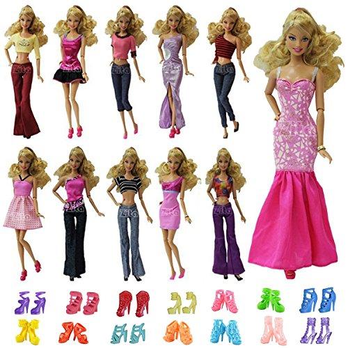 ZITA ELEMENT®10pcs= 5pc Blouse / Pantalons /Robe Vêtements Tenues Loisirs+ 5 Chaussures Pour Poupée Barbie Noël Cadeau - Ramdon Style