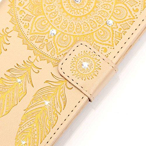 iPhone 7 Hülle,iPhone 7 Case,Cozy Hut Dreamcatcher Muster iPhone 7 PU Leder Wallet Case Flip Cover Hüllen Schutzhülle Etui Ledertasche Lederhülle Handy Tasche Schale mit Standfunktion für iPhone 7 bra Golden Campanula