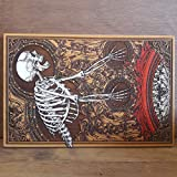 Skeleton Wood Carved, Gothic Woodcut, Skull Lover Gift, Hand Painted - Unique Design by Engraver's Dungeon 29 x 19 cm