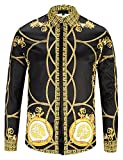 Pizoff Herren Luxus Palace Still Fashion langärmliges Hemd Hip-Hop Tops mit Golden Floral Schild Medaille Druckmuster - Y1792-31 - L