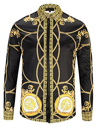 Pizoff Herren Luxus Langarm Hemden mit Baroque-Motiven,Y1792-31,Medium