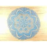 Rundes Häkeldeckchen blau Tischschmuck Tischdekoration Deko Deckchen