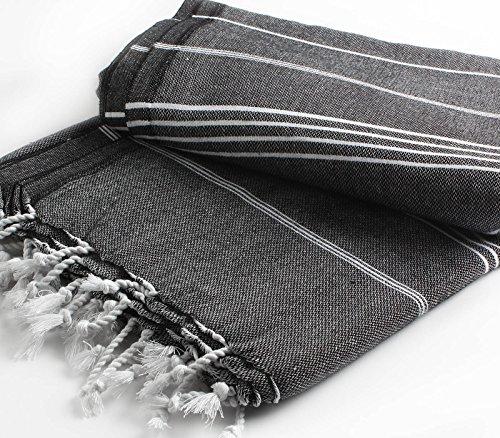 Cacala Pure serie turco Peshtemal manta, algodón, negro, 150 x 200 x 0.5 cm