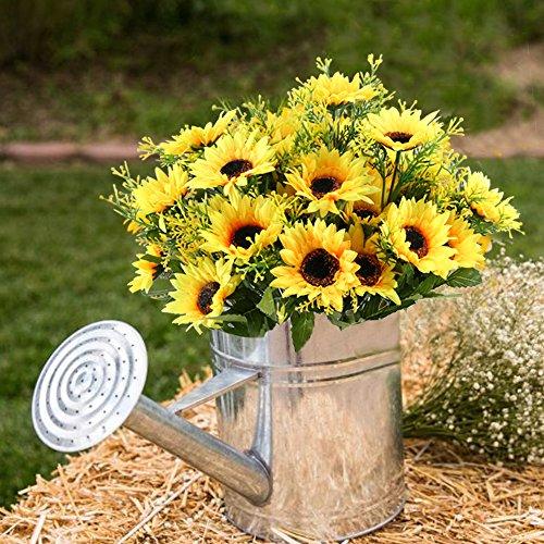Nahuaa 4 Pcs Künstliche Blumen Sonnenblumen Bündel gefälschte Blumen Frühling Dekor für Hochzeit Wohnung Büro Party
