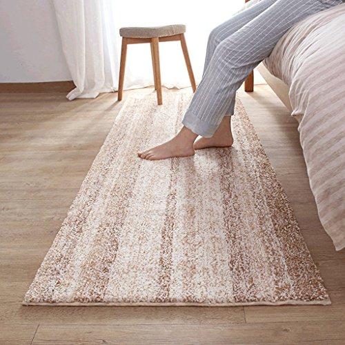 Gestreifte Teppiche, rutschige saugfähige Nachttischmatten, Wohnzimmerschlafzimmerteppiche, Spielmatten für Kinder ( Größe : 80*100CM-COFFEE )