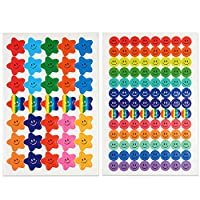 20 Sheets 1390 Pcs Happy Face Stickers and Smiling Star Stickers Colorful Award Stickers for Teacher Parents Kids Incentive Decorative Stickers for Books Crafting Artworks