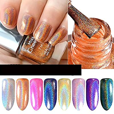SMILEQ Diamond Laser Nail Polish Pretty Shiny Mirror Glitter Nail Art Holographic Long Lasting Nail Polish 1 Bottle 7ML - cheap UK light shop.