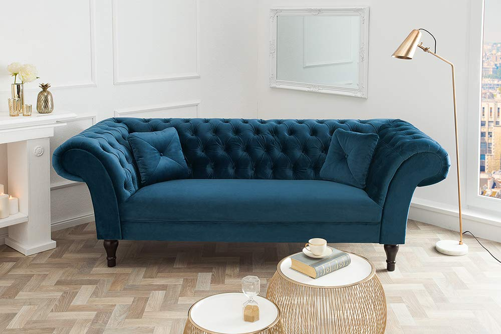 Chesterfield Sofa Contessa Samt Königsblau Mit 2 Kissen Couch Barock